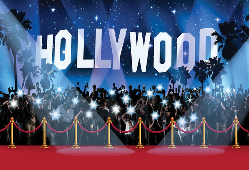 Vinyl photography backdrop Star red carpet glare center of Hollywood adult birthday party Decor Banner Backdrop Photo Studio