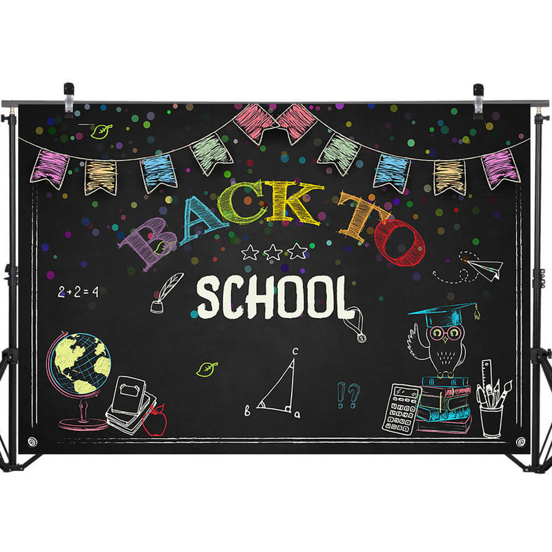 Back to School Backdrop Blackboard Globe Triangle Ruler Photo Background Party Banner Photography Backdrops
