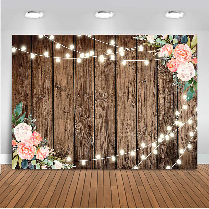 Bridal Shower Backdrop for Photography Wooden Glitter Wedding Party Decoration Banner Background for Photo Studio
