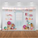 Candy Bar Backdrop for Photography Sweet Shoppe Birthday Theme Party Banner Decoration Background for Photo Studio