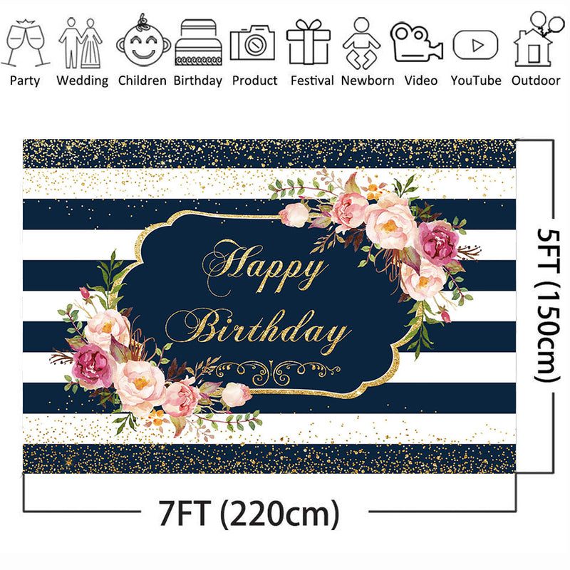 Happy Birthday Backdrop for Photography White and Stripe Background for Photo Party Decoration Supplies Newborn Baby