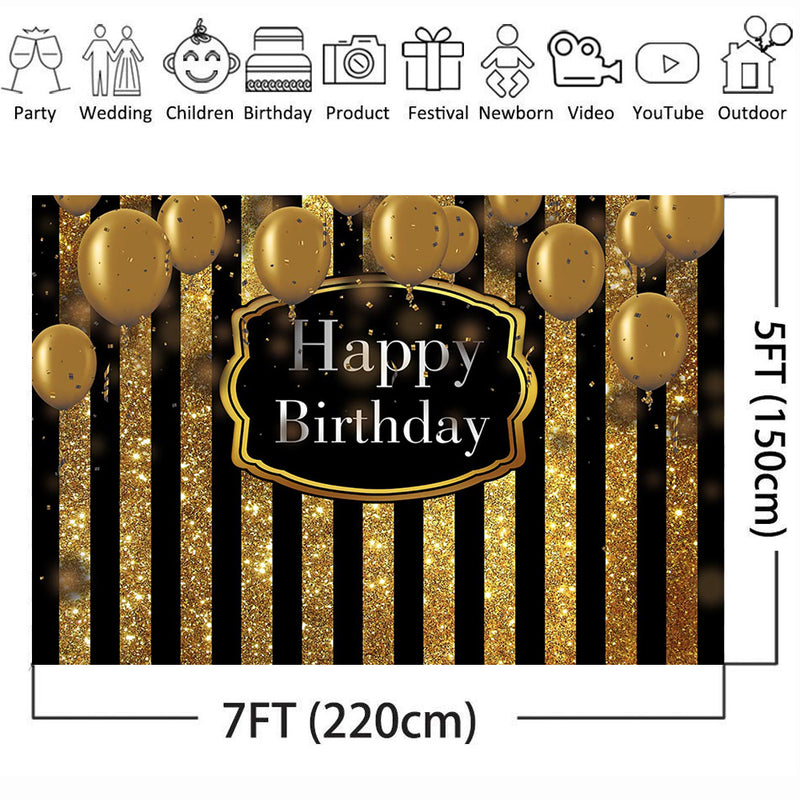Happy Birthday Theme Party Decoration Banner Black and Gold Stripe Backdrop for Photography Golden Balloons Children