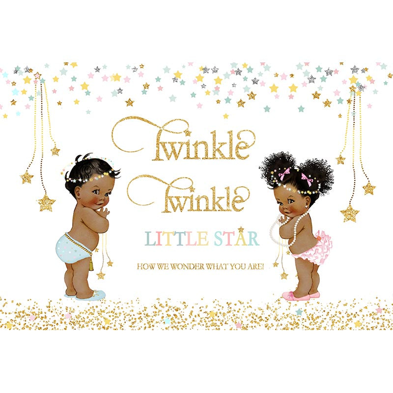 Twinkle Twinkle Little Star Backdrop for Photography Gender Reveal Photo Background Party Decoration Banner Favor
