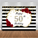 happy 50th birthday backdrop for women party decoration banner white black stripe background for photo studio 510