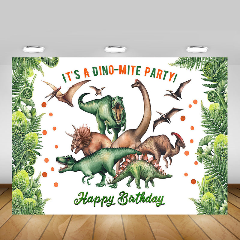 Newborn Dinosaur Happy Birthday Backdrop Jungle Wild Dinosaur Birthday Party Background Decoration Studio Green Forest Photo
