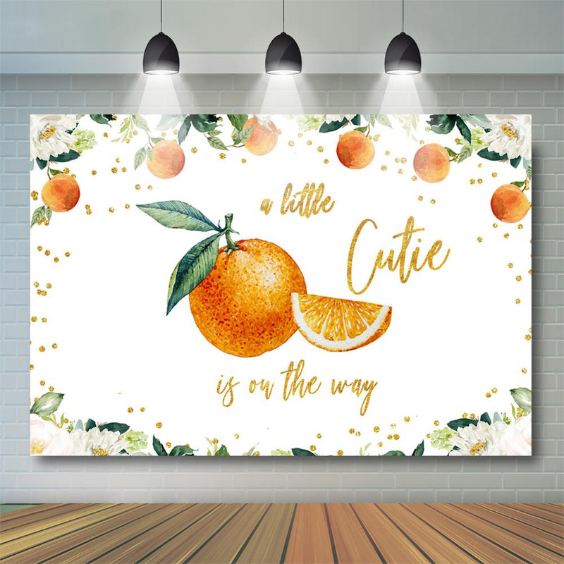 Oranges Baby Shower Backdrop A Little Cutie is on the Way Clementine Baby Shower Party Decor Citrus Gender Neutral Background