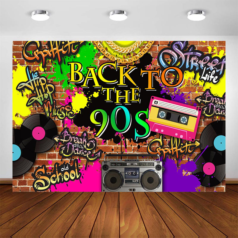 Photography Backdrop Back To The 90 S Party Background School Graffiti Dreamybackdrop