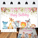 Photography Backdrop Cartoon Animals Elephant Baby Newborn Birthday Backdrops Jungle Safari Photo Background for Photoshoot