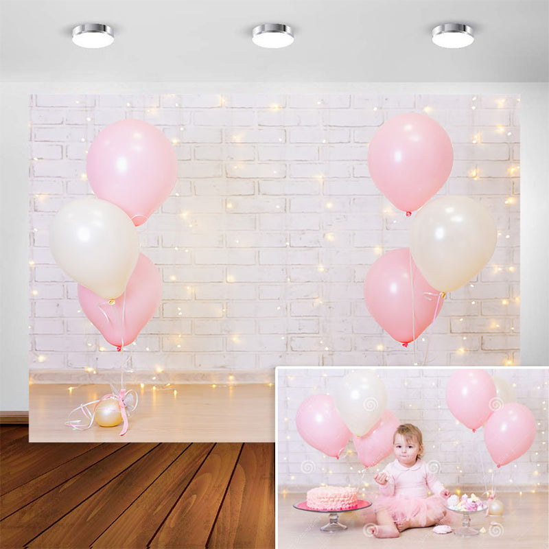 Photography Backdrop Girl Birthday Party Light Brick Wall Balloon Baby Child Portrait Background for Photo Studio Photocall