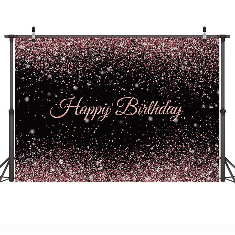 Photography Backdrop Happy Birthday Background for Women Rose Gold Dots Birthday Cake Table Decoration Backdrops Glitter Bokeh