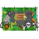 Photography Backdrop Jungle Safari Party Animals Forest Background Birthday Theme Party Decorations Backdrop Photo Studio Banner