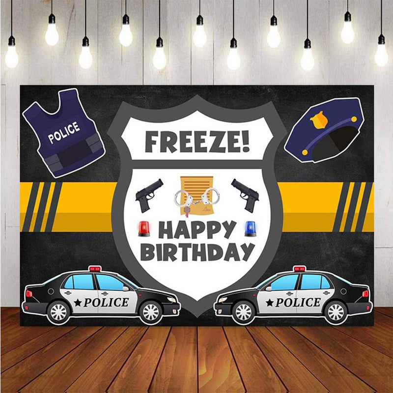 Photography Backdrops Police Theme Birthday Party Backdrop Pistol Handcuffs Background Cool Boy Photo Studio Backdrop Photo Prop