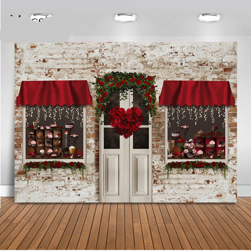 Photography Backdrops Red Rose Flowers Bakery Shop Store Arch Door Valentine Day Romantic Background Newborn Kids Photocall
