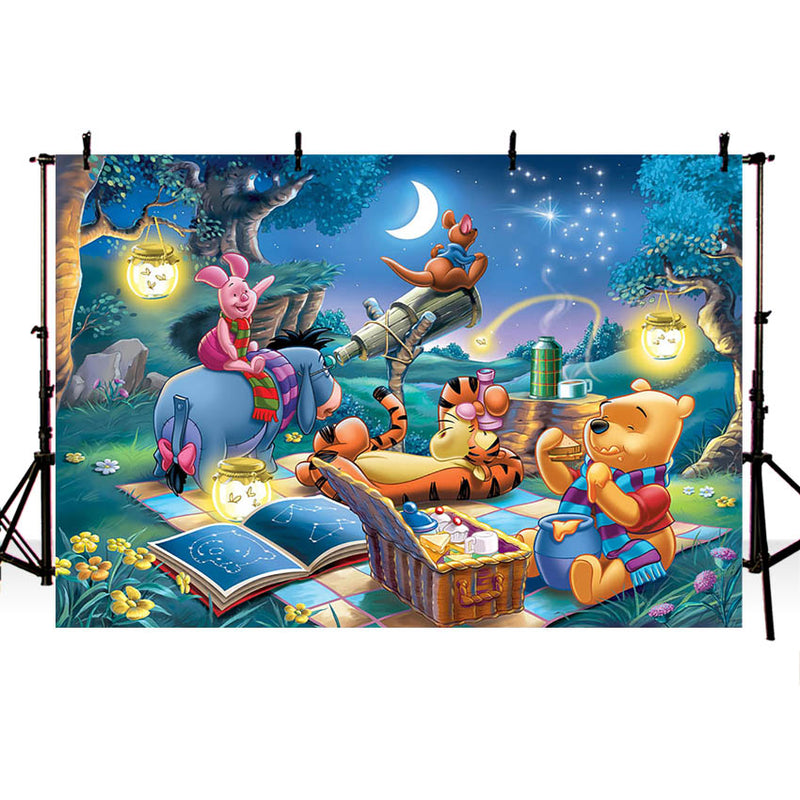Photography Backdrops Winnie-Pooh Friends Night Theme Kids Birthday Party Decoration Background for Photo Studio