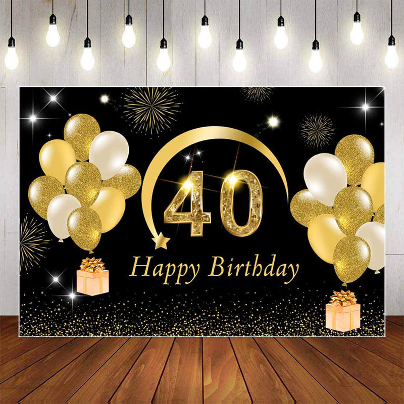 Photography Background 40th Party Balloon Adult Women Girls Lady Forty Years Old Happy Birthday Backdrop Photo Studio