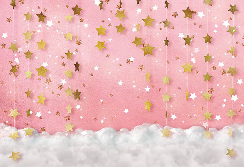 Twinkle Twinkle Little Star Photography Backdrops Pink Background Backdrops Props Clouds Baby Shower Vinyl photo Backdrop Girls