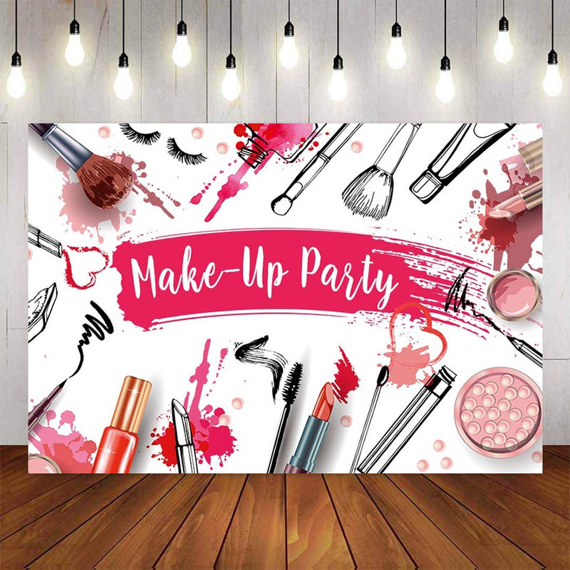 Photography Background Beauty Make-up Party BackdropsTeen Girls Make-up Shower Lipstick Backdrop Photo Booth Studio Photo Prop