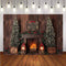 Brown Wooden Photography Backdrops Christmas Fireplace Background Backdrops Winter Props Xmas Tree Vinyl photo Backdrop Kids