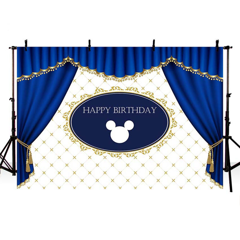 Photography Background Custom Princess Baby Shower Party blue curtains photographic birthday Photo backdrop