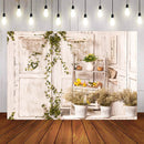 Photography Background Green Flower Potted Plant White Wood Backdrop Photocall Photo Studio Backdrop Photo Prop
