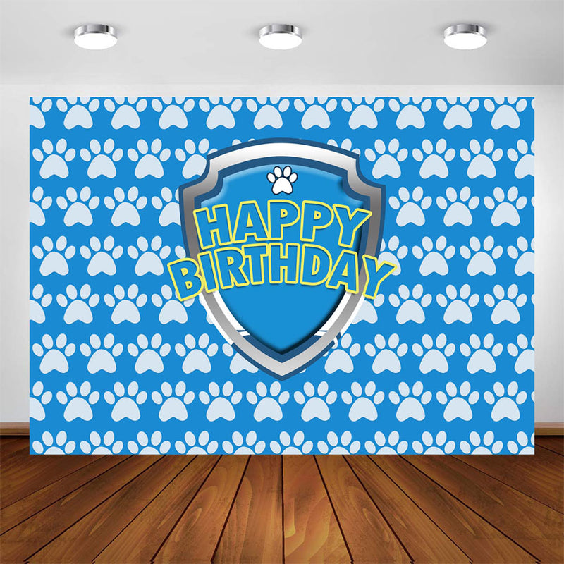 Customize Name Paw Patrol Photography Background Kids Boy Baby Birthday Banner Backdrop Patrol Dog Party Blue Paw Children Photo Background
