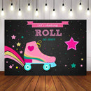Photography Background Neon Roller Skate Theme Backdrop Stars Skating Birthday Party Let's Roll Glow Skate Photo Studio Backdrop