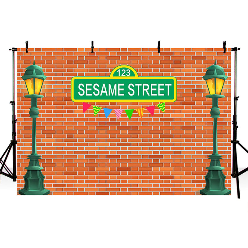 Photography Background Street Light Dark Red Bricks Wall Sesame Street Birthday Party Photo Studio Backdrop Photocall Photo Prop