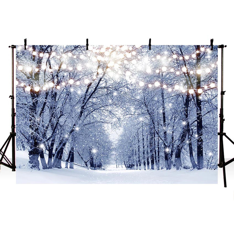 2020 Winter Snow Photography Backdrops Christmas Background Backdrops Forest Trees Snowflake Props Lighting Vinyl photo Backdrop