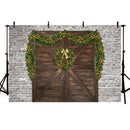 Brick Wall Photography Backdrops Christmas Background Backdrops Wood Door Home Party Decoration Props Xmas Vinyl photo Backdrop