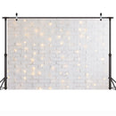 Photography White Brick Wall Background for Photocall Flashing Glitter Lights Children Baby Birthday Portrait Photo Backdrop