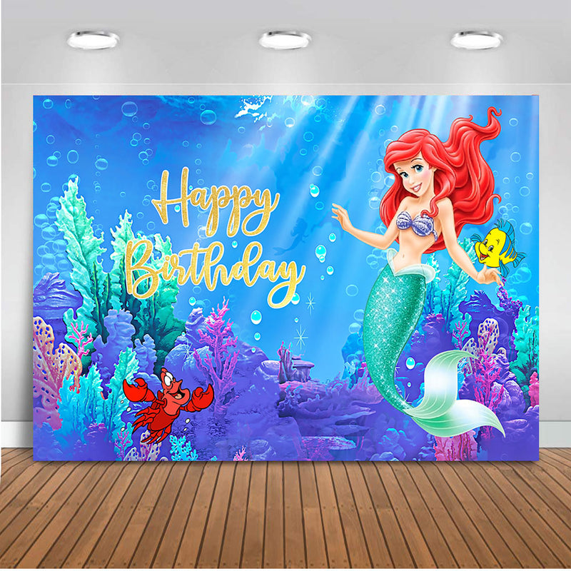 Photography backdrop Girls little mermaid customize party decoration under the sea Ariel birthday theme background for photo