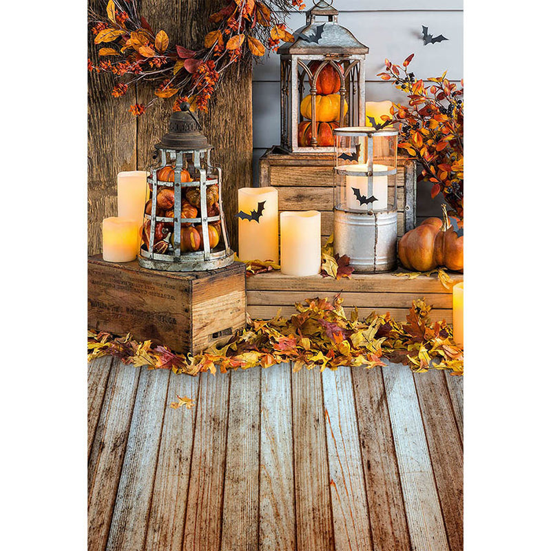Thanksgiving Photography backdrop autumn halloween pumpkin background for photo studio Maple leaf fall candle wood floor background for photo