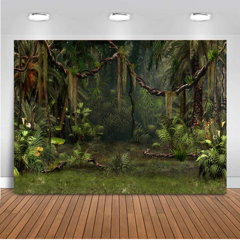 Spring Photography backdrop enchanted forest jungle background for photo studio party decoration supplies dessert table banner green Palm tree