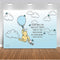 Classic Winnie The Pooh Backdrop Baby Shower Light Blue Background Hot Air with White Clouds Backgrounds for Boy 1st Birthday Butterfly Vinyl Backgrounds Party Decoration