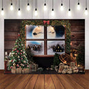 Xmas Photography Background Christmas Tree Window Photo Backdrop Studio Portrait Background For Photo Studio Newborn Baby