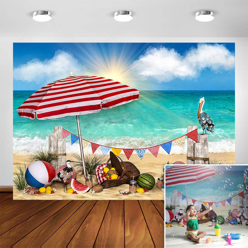 Picnic Beach Photography Backdrop Summer Blue Sky and White Cloud Beach Baby Child Portrait Background Photo Studio Photocall