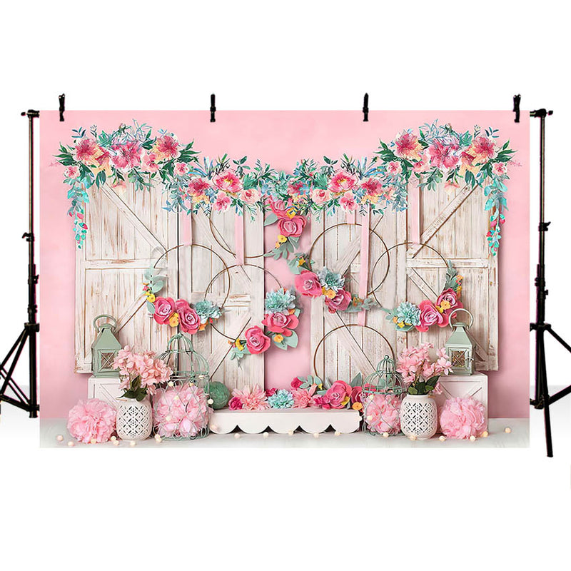 Pink Flowers Backdrop Floral Wall Wooden Door Baby Girl Cake Smash Portrait Child Background for Photography Studio Photocall