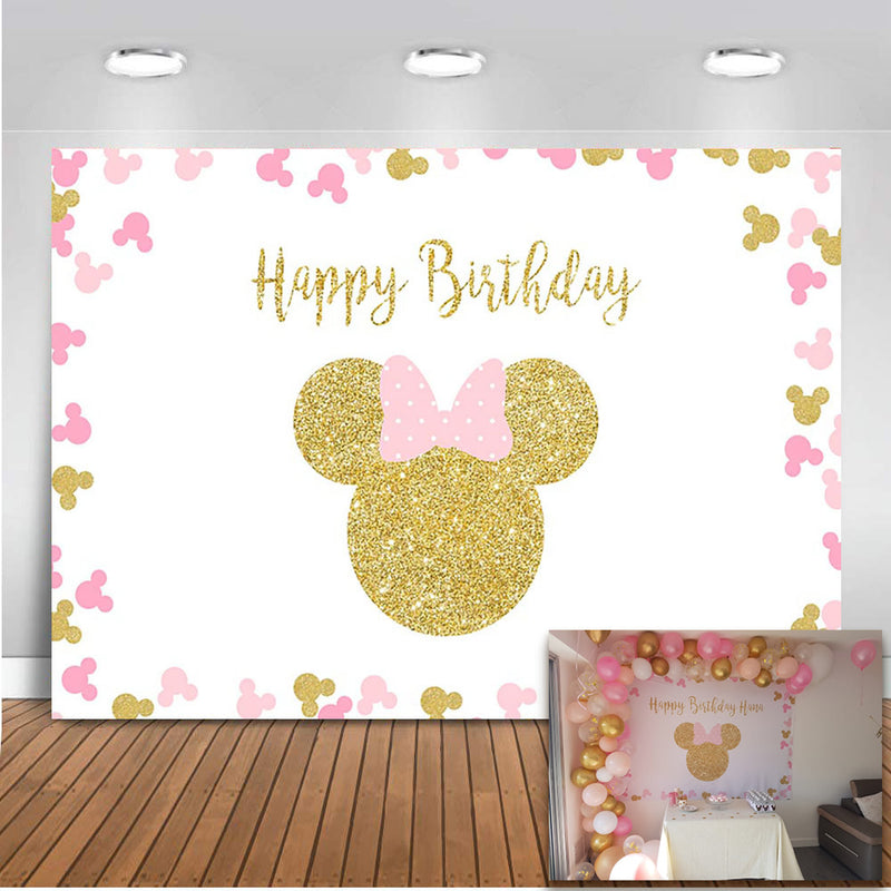 Pink and blue Minnie mouse backdrop for photography custom birthday background for photo studio Birthday Party Personalised