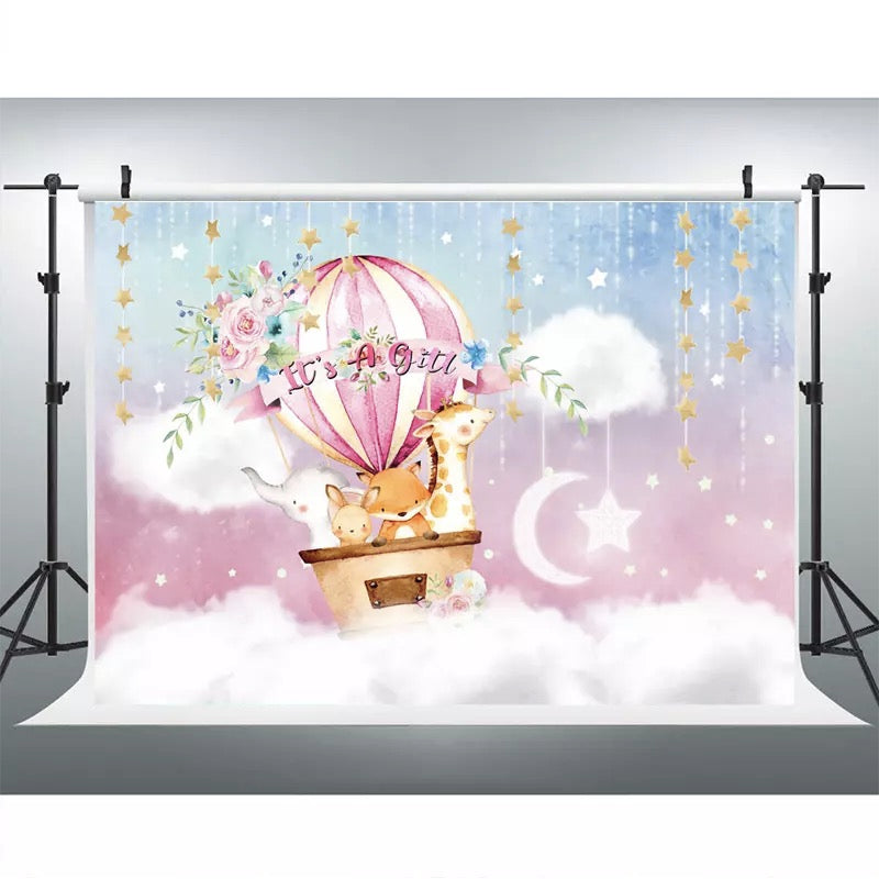 Pink Hot Air Balloon Baby Shower Backdrop Twinkle Twinkle Little Star Golden Star Photo Background Blue Sky White Clouds Dessert Table Banner