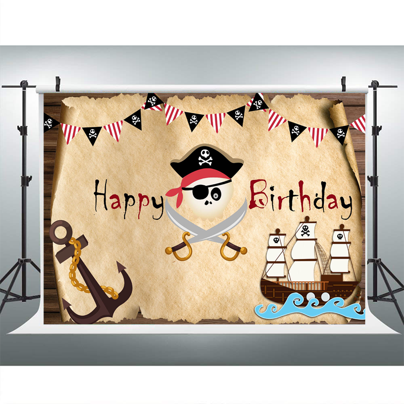 Pirate Ship Theme Birthday Party Decor Photo Background Old Treasure Map Boy Birthday Party Banner Photography Backdrops