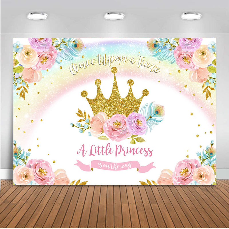 Princess backdrop for photography gold crown Rainbow backdrop for photo studio Floral backgrounds party decoration Princess prop