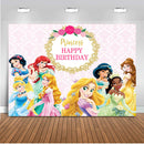 Princess backdrop for photography customize children birthday party background for photo studio girl party decoration supplies