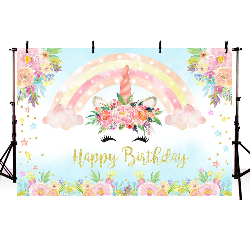 Rainbow newborn flower unicorn baby shower backdrop for photography pink clouds background for photo studio kids floral backdrop