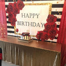 Red Rose Birthday Backdrop Black and White Stripes Background for Photography Happy Birthday Party Decoration Cake Table Banner