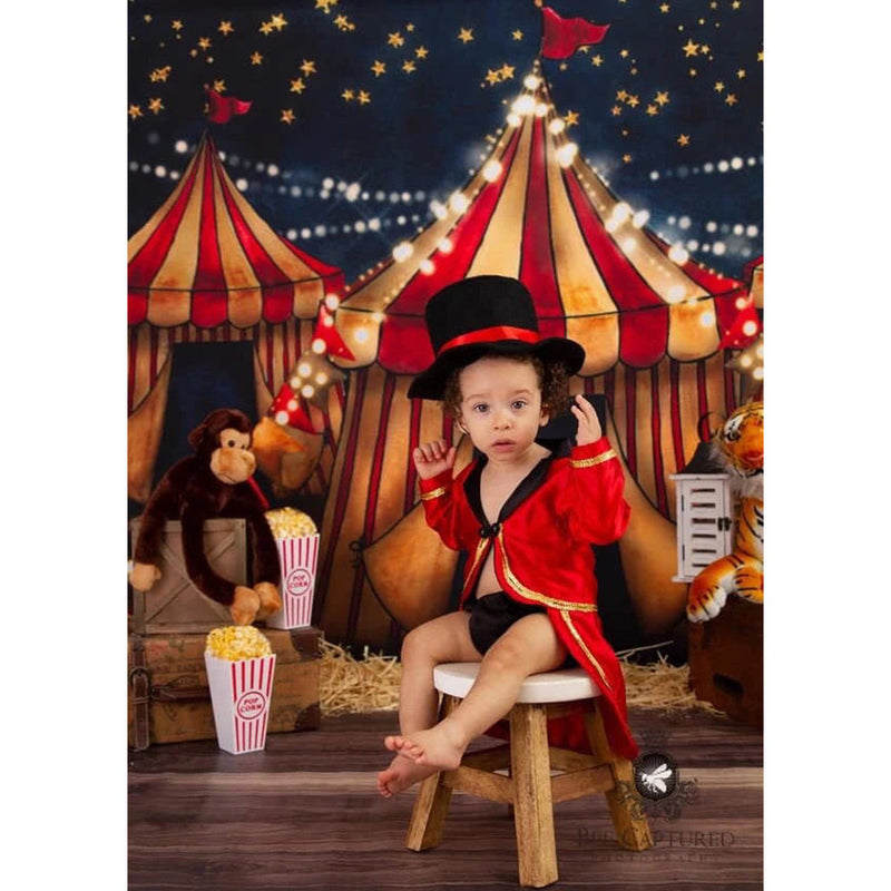 Retro Circus Children Birthday Party Photography Backdrop Shabby Circus Newborn Portrait Photo Background Starry Sky Night