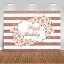 Rose Gold Birthday backdrop for photography Happy Birthday Pink Rose Flower background for photo studio girl party Photographic