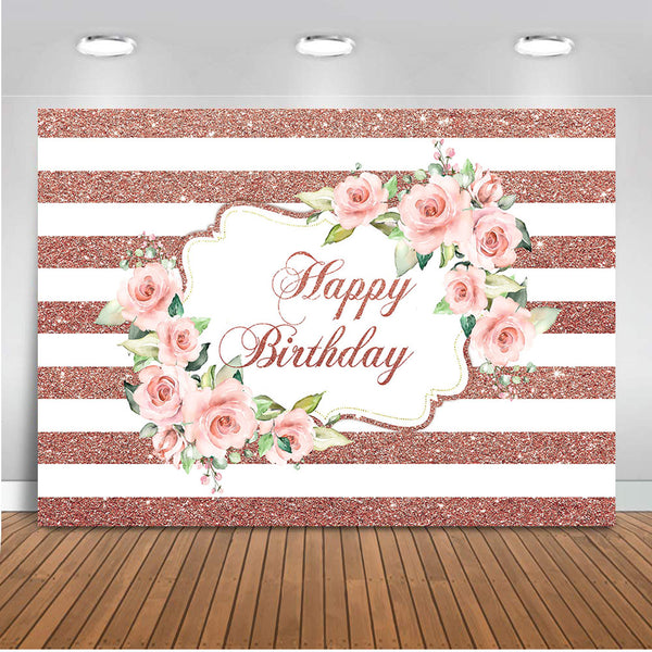 Rose Gold Birthday Backdrop For Photography Happy Birthday Pink Rose F Dreamybackdrop