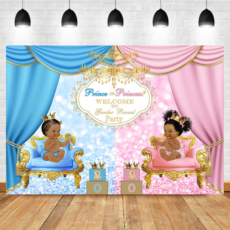 Royal Celebration Gender Reveal Backdrop Welcome Prince or Princess Baby Shower Party Photo Backdrop Blue or Pink Background