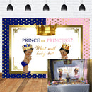 Royal Twins Party Backdrop for Picture Newborn Pink or Blue Crown Backdrops for Baby Shower Boy or Girl Photo Background