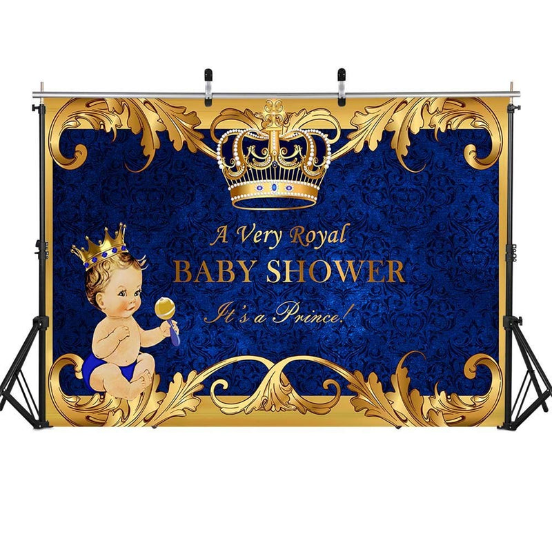 Royal Blue Baby Shower Backdrop Welcome Little Prince Photo Background 7x5ft Gifts and Gold Crown Backdrops for Baptism